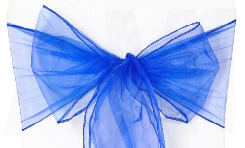 1 10 50 Royal Blue Organza Chair Sashes Tie Bows Wedding Event Venue Decoration