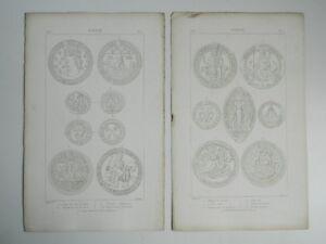 2 Gravuren Siegel Antik Roux Graviert Von Ribault 1880