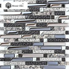 Black Silver Gray Interlocking Glass Tile Artistic Mosaic Unique Design Ideas