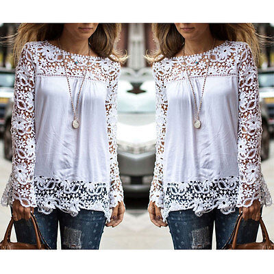 Summer Women Ladies Embroidery Lace Chiffon Long Sleeve Top Shirt Blouse T-shirt