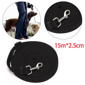Black-Pet-Dog-Training-Lead-15M-50FT-Long-Line-Collar-Harness-Extending-Leash