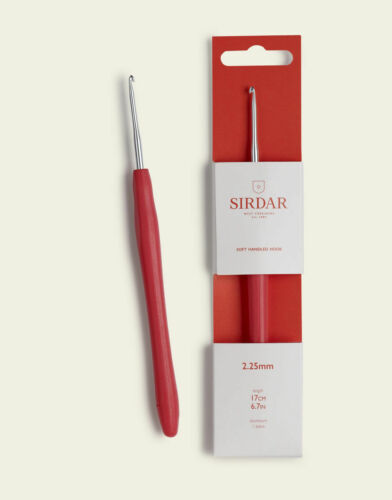 Sirdar Aluminium Crochet Hook Red Soft Touch Handle Sizes 2mm 10mm