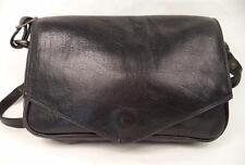 VINTAGE BLACK QUALITY LEATHER SHOULDER BAG HANDBAG ORGANISER