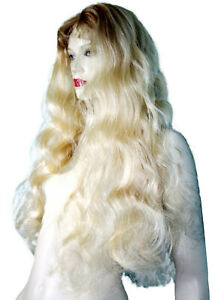 REAL-Human-Hair-Remi-Remy-Full-Lace-Wig-Indian-Blonde-Mix-Body-Wave-Wavy-Long