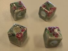 Handmade Printed Porcelain Cube Beads,  Green / with Floral 10x10x10mm, Hole 4mm