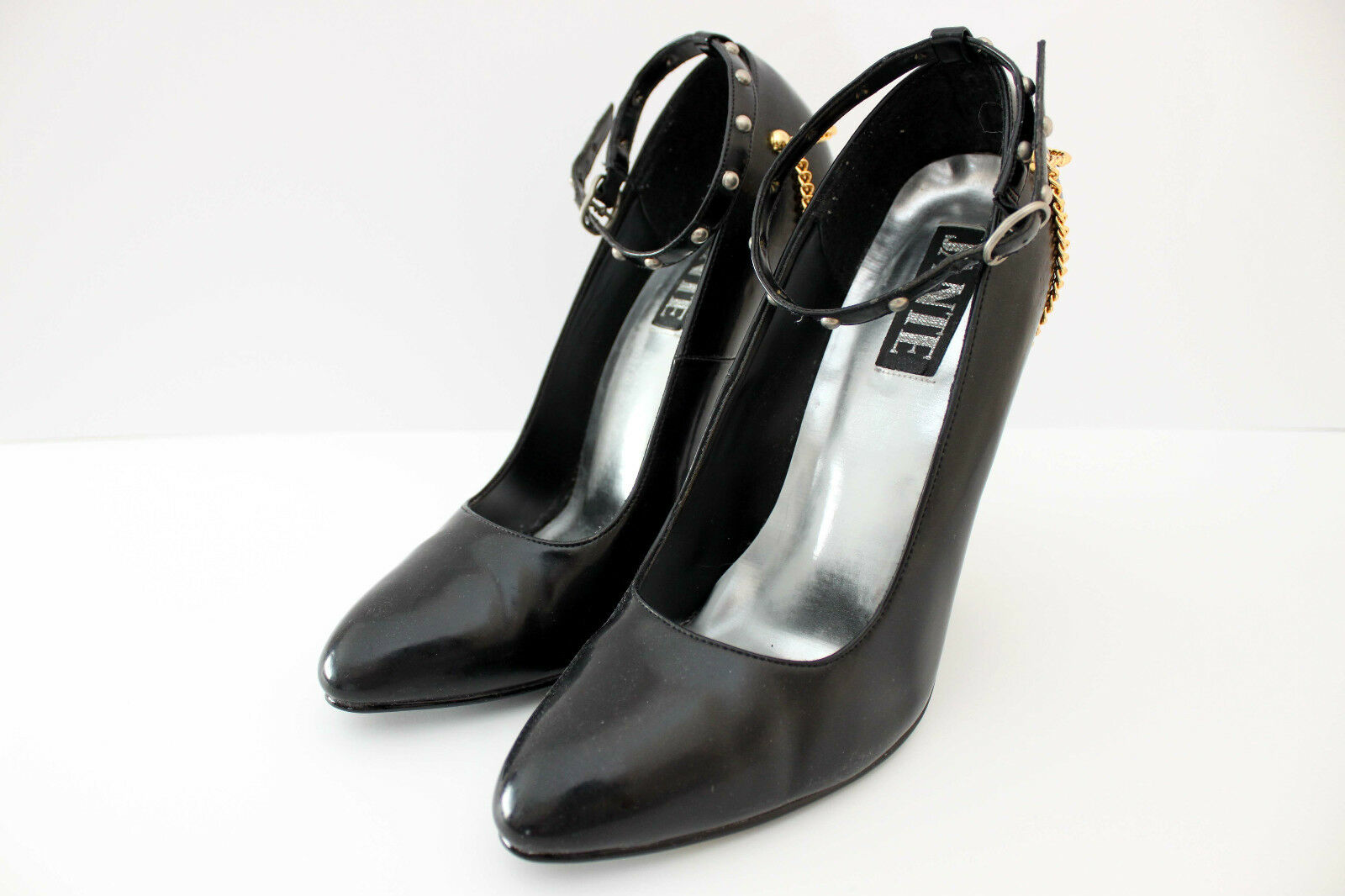 AUTHENTIC AUTHENTIC AUTHENTIC JANTE 115 schwarz PATENT W METAL CHAIN ANKLE STRAP HEELS Größe 41 672253