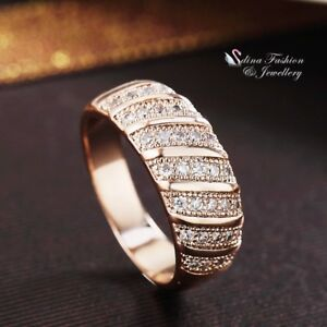 18K-Rose-Gold-Filled-Simulated-Diamond-Lady-Woman-Shiny-Cross-Lines-Band-Ring