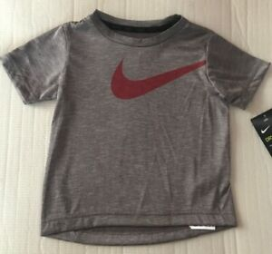 Nike-Boys-Brown-Heather-Tee-Red-Swoosh-Size-3T-2T