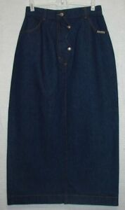 Rough-Rider-by-Circle-T-Long-Denim-Western-Skirt-Size-9-10-Waist-24-26-034