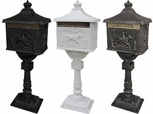 Mail-Box-Heavy-Duty-Mailbox-Postal-Box-Security-Cast-Aluminum-Vertical-Pedestal