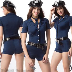 Sexy-Women-Police-Cop-Uniform-Blue-Zipper-Police-Slim-Halloween-Costume-Full-Set