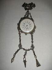 Rare Antique sterling silver pocket watch Savoye Fres et Cie chatelaine & key
