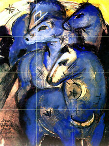 Art Franz Marc Blue Horses Mural Tumbled Marble Backsplash Bath Tile #2134