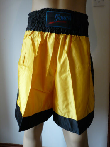 FORCE BOXING MARTIAL ARTS BLACK /& YELLOW SHORTS   VARIOUS SIZES  BNNT
