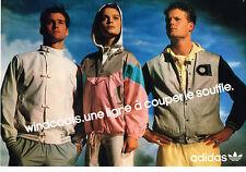 PUBLICITE ADVERTISING  1986   ADIDAS  joggings   vetements de sport ( 2 pages)