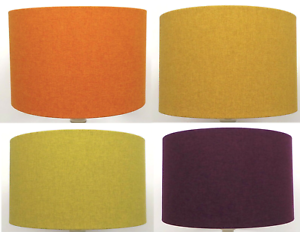 Retro Drum Lampshade Vintage Lamp Shade Uk Made Textured Linen Yellow Orange Ebay