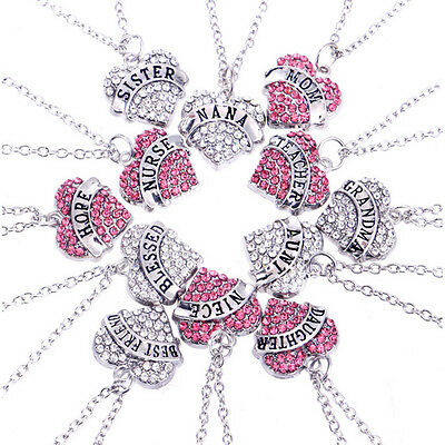 Newest Family Member Gifts Tone Crystal Heart Best Friend Words Pendant Necklace