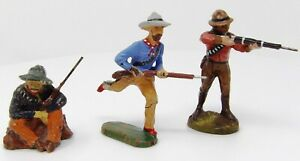 Vintage-Elastolin-Composite-Cowboys-70mm-Toy-Soldiers-Made-in-Germany