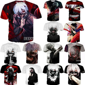 New Fashion Men//Womens Anime Tokyo Ghoul 3D Casual T-Shirt Short Sleeve Tee