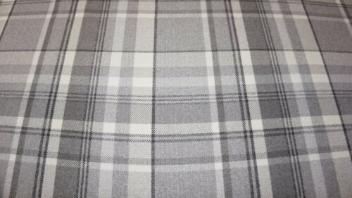 Dove Grey Balmoral Wool Effect Tartan Upholstery Curtain Fabric Plaid Fabric