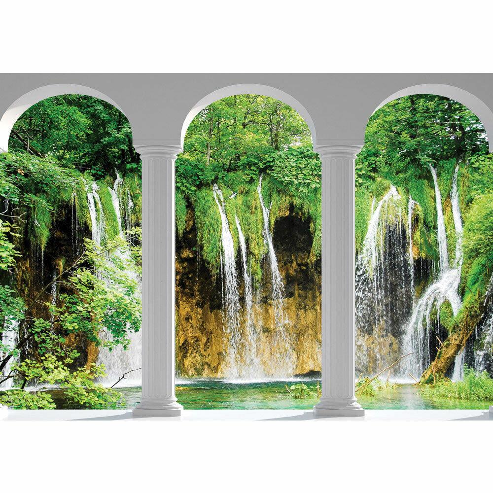 Fototapete Wasserfall See Säulen Bogen Bäume liwwing no. 2625