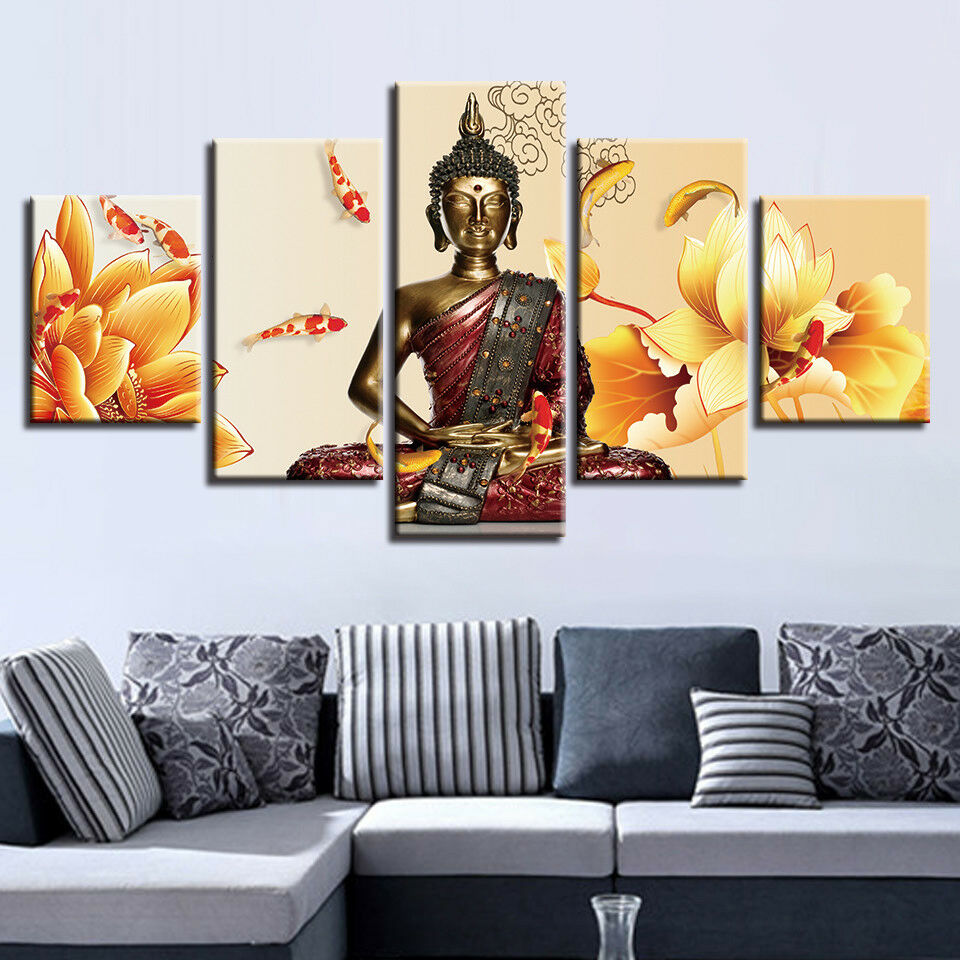 Meditating Buddha Fishes Flowers Poster 5 Panel Canvas Print Wall Art Home Decor