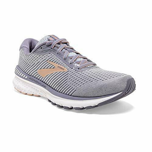 Brooks Womens Adrenaline GTS 20 Running Shoe, Grey/Pale Peach/White, Size 7.5 Yo