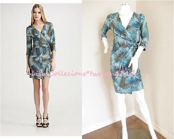 98a7520f Diane von Furstenberg Evrin Wrap Dress Pure Silk White bluee Zigzag Dots  Size 6