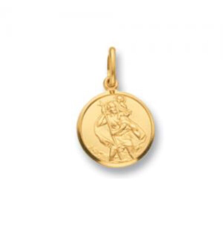 Solid 9ct Yellow gold St Christopher Pendant 10mm Diameter 0.9gr