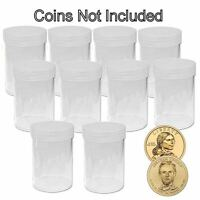 Round Small Dollar Coin Storage Tubes 26mm By Bcw 10 Pack