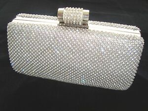 Image Is Loading Large Silver Bling Diamond Diamante Crystal Evening Bag