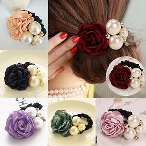 LC-Frauen-Dame-Satinschleife-Rose-Blume-Perlen-Haarband-Pferdeschwanz-Halter-B