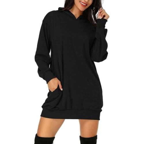 Damen Langarm Kapuzenpullover Sweatshirt Longtop Minikleid Freizeit Camo Hoodie