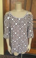 Hecho A Mano White & Brown Exposed Shoulder Blouse Sz L