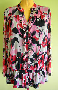 Ladies-Womens-Long-Sleeve-Button-Up-Blouse-Top-Floral-Mesh-INC-Size-1X