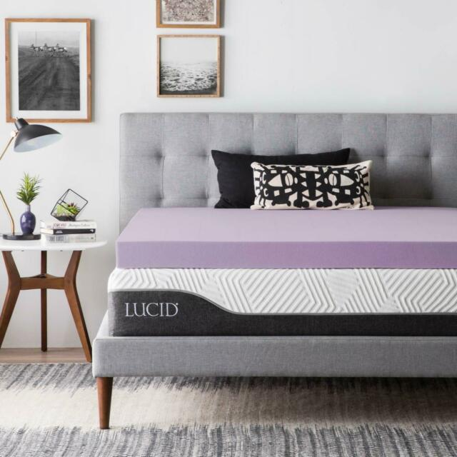 Lucid 2 3 4 Inch Lavender Memory Foam Mattress Topper Twin