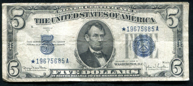 1934-D $5 FIVE DOLLARS *STAR* BLUE SEAL SILVER CERTIFICATE