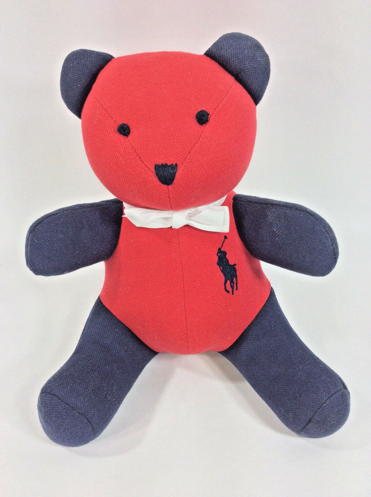 Ralph Lauren Teddy Bear Red White bluee Polo Plush Stuffed Animal 12