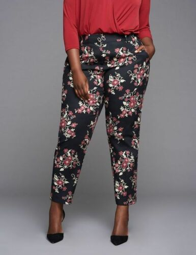 Lane Bryant Plus Size BLACK Floral Ankle Pant by GLAMOUR X 26 28 4X NWT