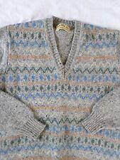 """GLEN ABBEY Shetland wool gray speckle blue green Fair Isle sweater 40"""" SMALL"""