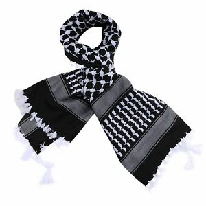 Black-and-White-Arabic-Scarf-100-Cotton-Shemagh-Keffiyeh-Arab-Neck-Head-47-034-x47-034