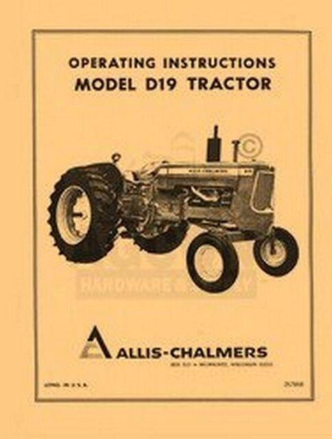 Allis Chalmers D-19 D19 Tractor Operators Manual