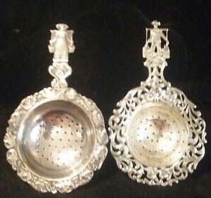 Vintage-Pair-Dutch-Tea-Strainer-830-Silver-Milkman-amp-woman-Figure-On-each-Handle