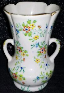 "Vintage Nagoya Japan Hand Painted Trico Double Handle Vase  4 1/2"" Tall"