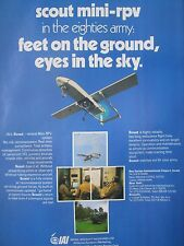 4/1982 PUB IAI ISRAEL UAV UNMANNED AIR VEHICLE SCOUT MINI RPV DRONE ORIGINAL AD
