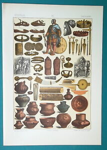 ANCIENT-GERMANS-Utensils-Vases-Shoes-Arms-Armor-1883-Color-Litho-Print