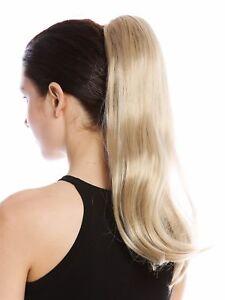 Postiche-Tresse-Queue-de-Cheval-Long-Lisse-un-Peu-Boucle-Clair-Blond-Cendre-45cm