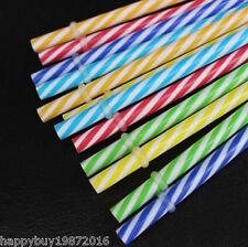 "10x Reusable Plastic drinking Straws Retro Stripe party wedding Birthday 9.06"""