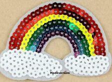 Regenbogen Rainbow Wolke Cloud Peace Aufnäher Patch Applikation Bügelbild Glitze