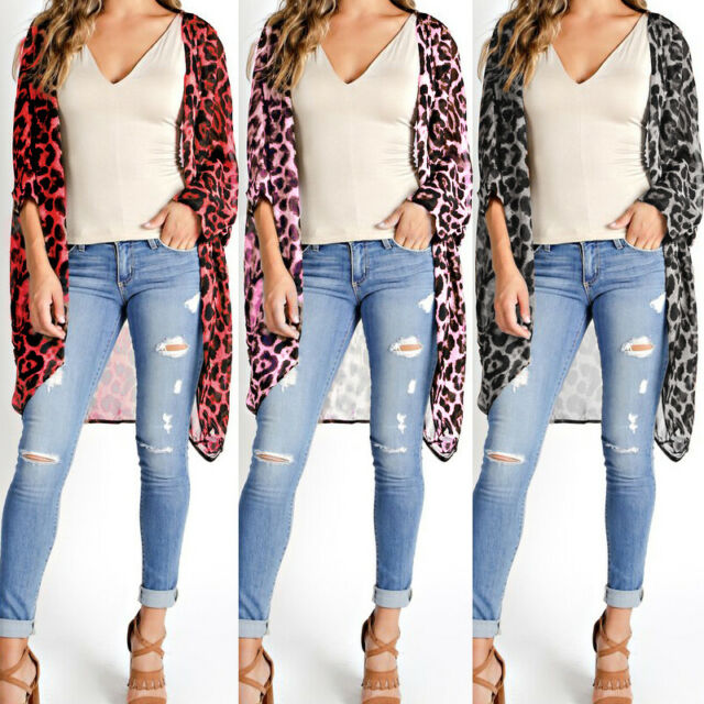Womens Long Sleeve Leopard Printed Jacket Baggy Loose Cardigan Cape Shirts Tops